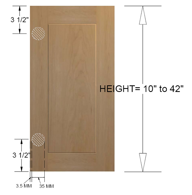 cabinet hinges installed. You Can Customize This But It Is Going To Raise The Cost Of Door  Dramatically. To Use 3-1/2 Inch Hinge Cup Location, Install Plate So Cabinet Hinges Installed E