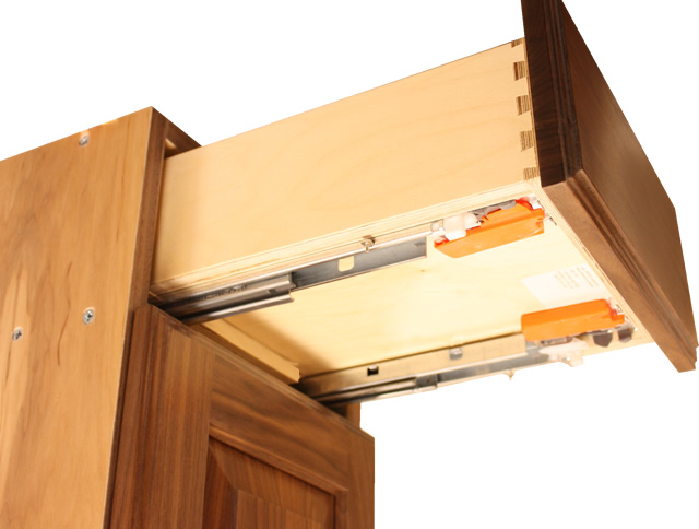 mounted drawer box and front in a cabinet