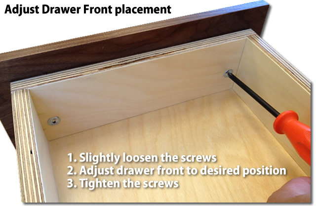 how to adjust drawer fronts