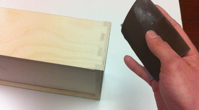 sanding the dovetail joints