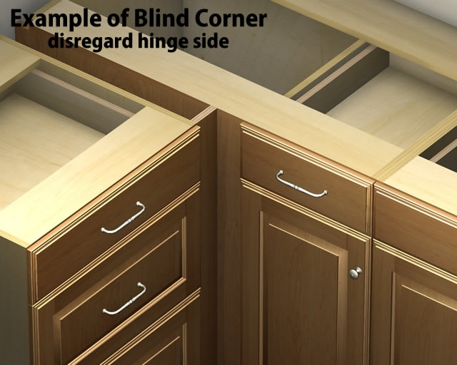 Door 1 drawer blind corner base cabinet right