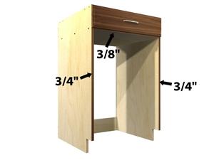 Base 1 drawer appliance case for Barker kitchen cabinets