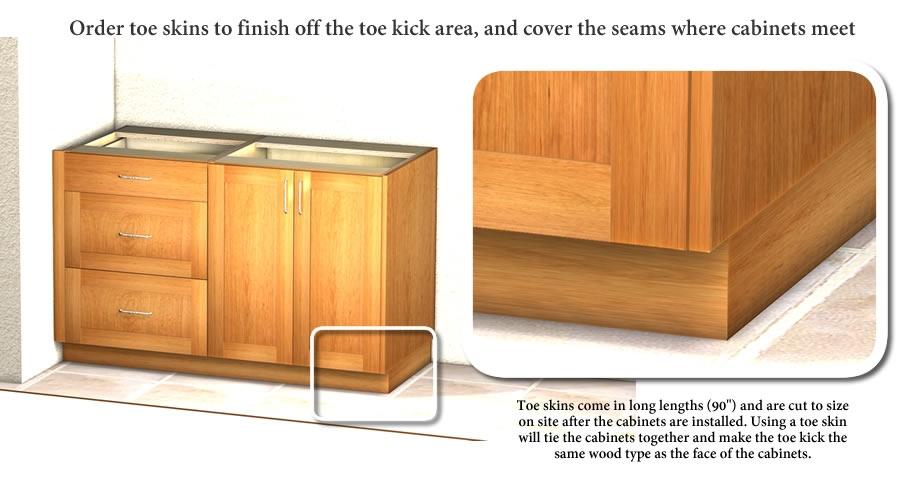 Toe Skin For Covering Exposed Cabinet Toe Kick