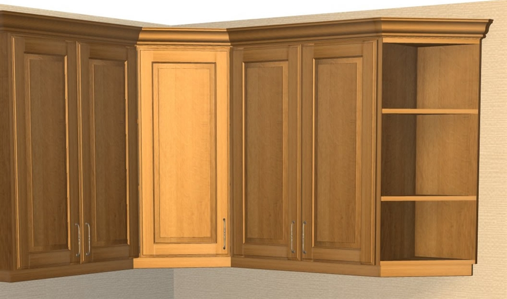 0 Door Exposed Interior Corner Shelf Cabinet