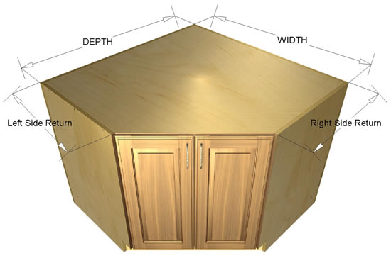 45 degree base SINK cabinet