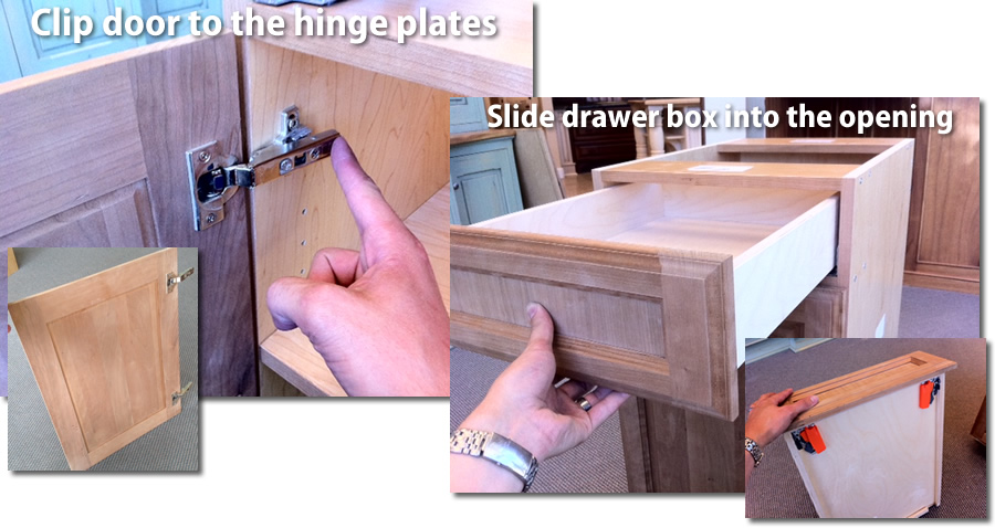 attach doors and drawer boxes